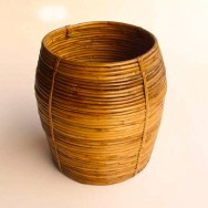 Ethnic Coiled Cane Planter